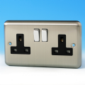 Varilight 2 Gang 13 Amp Switched Electrical Plug Socket Brushed Matt Chrome Dec Switch Black Insert